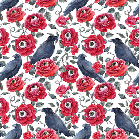 Watercolor floral halloween pattern Фото со стока - 85849309