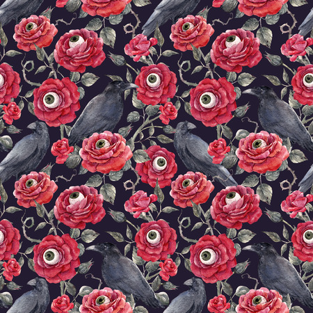 水彩画の花のハロウィンパターン 写真素材