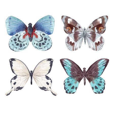 Watercolor butterflies set Foto de archivo