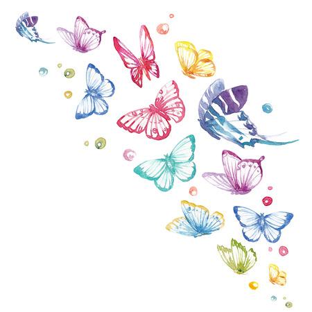 Watercolor butterflies set Stock fotó