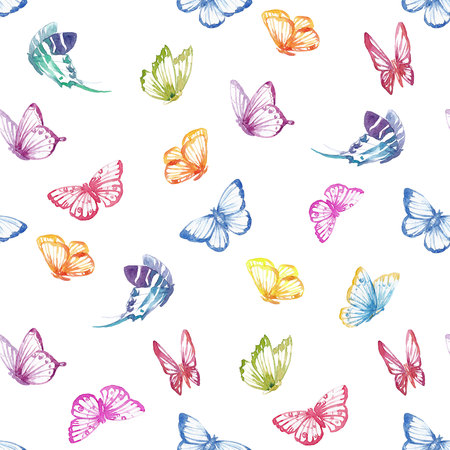 Watercolor butterfly pattern Zdjęcie Seryjne