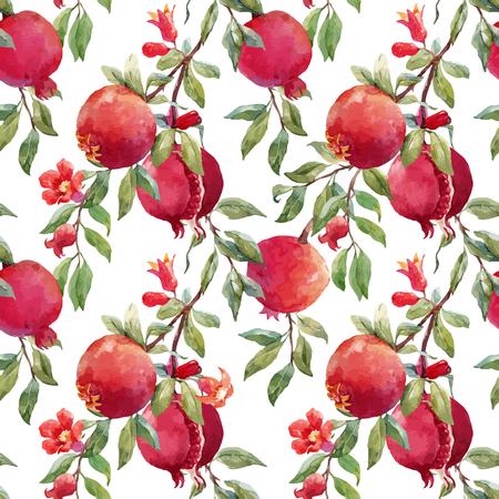 Pomegranate fruit vector pattern Иллюстрация