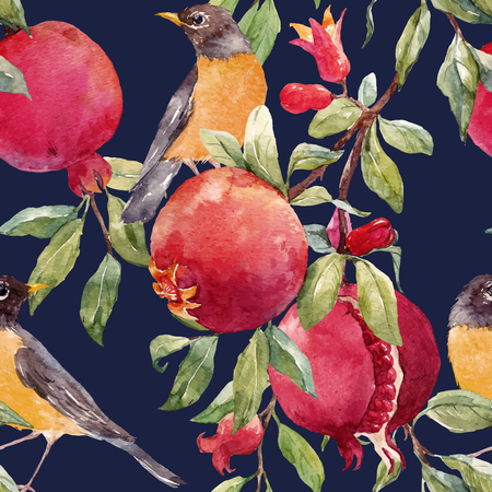Beautiful seamless vector pattern with nice hand drawn watercolor pomegranate fruit Ilustracja