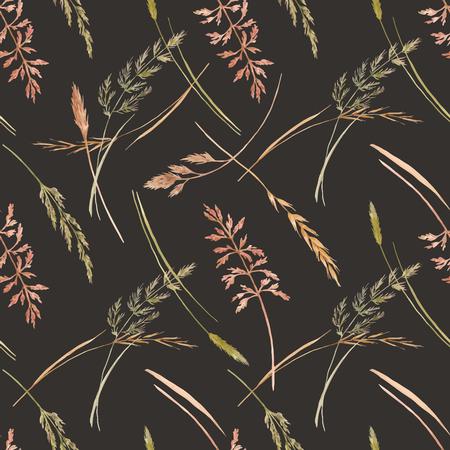 Wild field grass vector pattern vector illustration Illusztráció