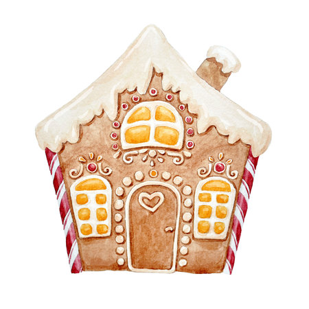 Watercolor gingerbread house Banco de Imagens - 86365218