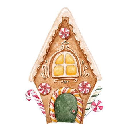 Maison de pain d'épice à l'aquarelle Banque d'images - 86365223