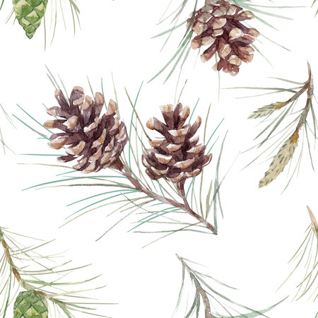 Watercolor fir cone pattern Stock Photo