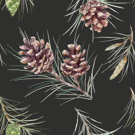 Watercolor fir cone pattern Imagens