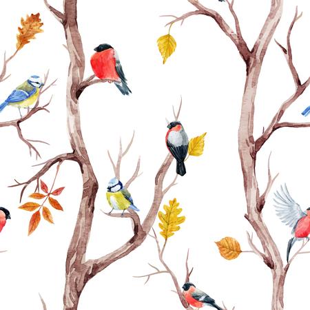 Fall trees and birds vector pattern Stock Illustratie