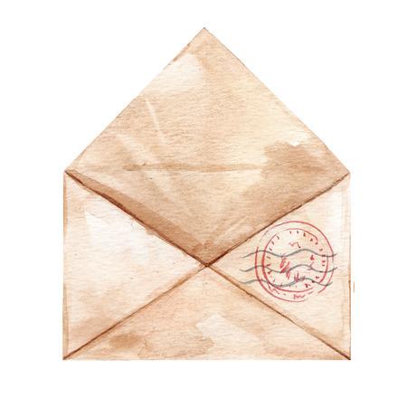 Watercolor hand drawn envelop