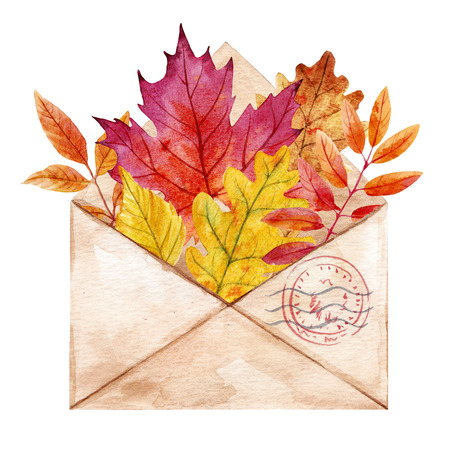 Watercolor envelop with leaves