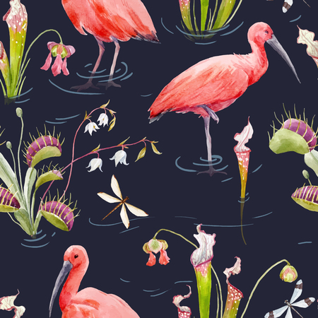Beautiful seamless vector pattern with watercolor red bird and flowers