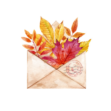 Watercolor vector envelop with leaves