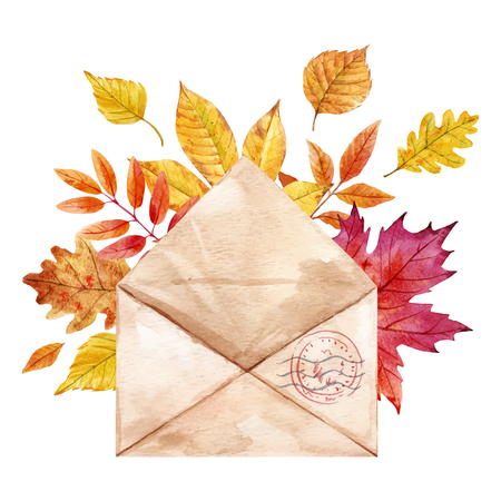 Beautiful vector composition with watercolor envelop with autumn leaves on transparent background Illustration