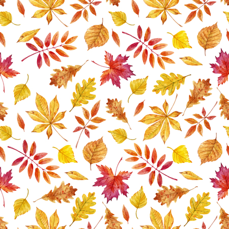 Beautiful vector seamless pattern with watercolor autumn leaves