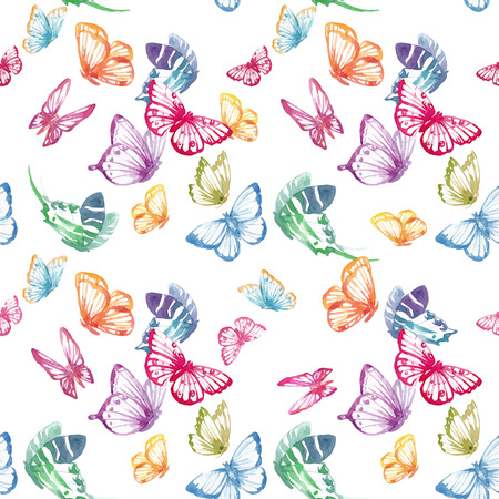 Beautiful seamless vector pattern with nice watercolor butterflies Фото со стока - 87232280