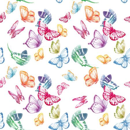 Mooi naadloos vectorpatroon met aardige waterverfvlinders