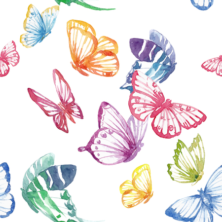 Beautiful seamless vector pattern with nice watercolor butterflies Vettoriali