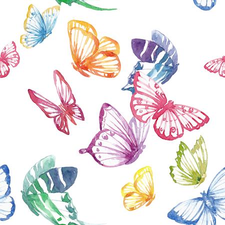 Beautiful seamless vector pattern with nice watercolor butterflies Stock Illustratie