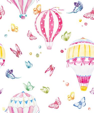 素敵な水彩画空気風船と蝶の美しいシームレスなベクトル パターン
