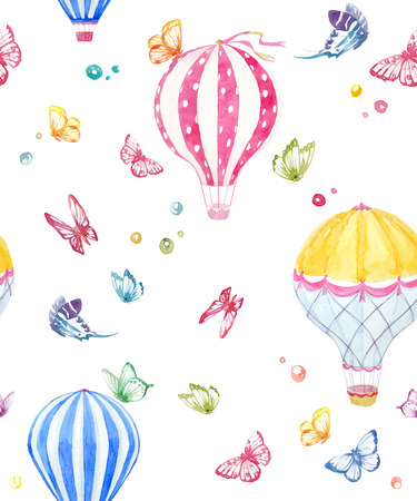Pattern with air balloons and butterflies Illustration