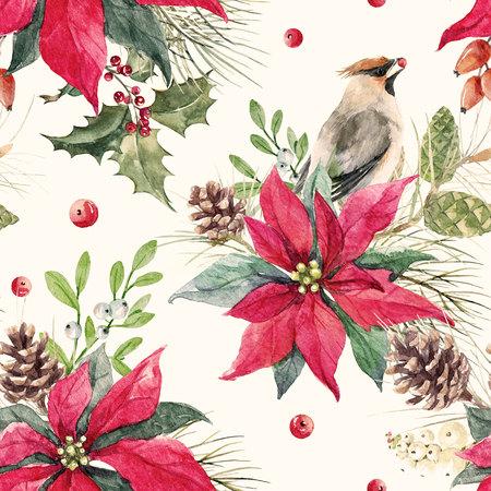 Watercolor christmas pattern Stock Photo