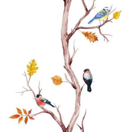 Fall trees and birds pattern Banco de Imagens