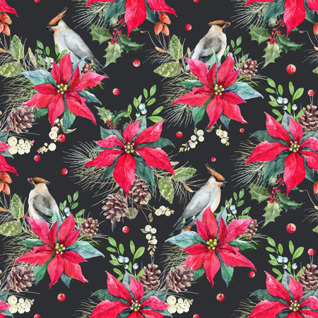 Beautiful vector seamless christmas pattern with poinsettia flower and bird