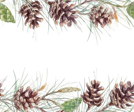 Watercolor fir cone. Vectores