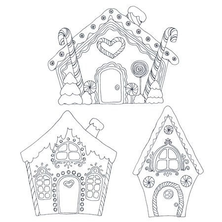 Christmas coloring houses vector illustration.