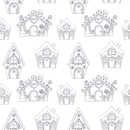 Christmas coloring houses pattern. Ilustracja