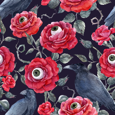Watercolor floral halloween pattern.