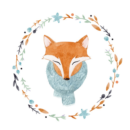 Watercolor fox portrait