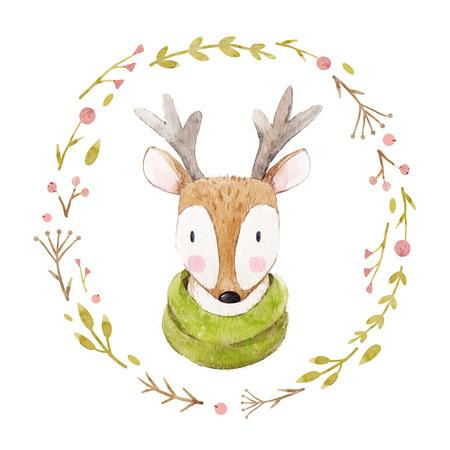 Watercolor deer portrait