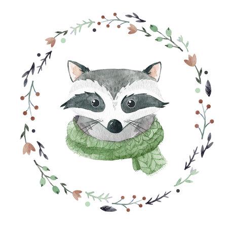 Watercolor raccoon portrait Stock Photo