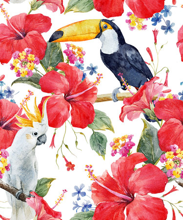 Watercolor tropical floral pattern Banco de Imagens