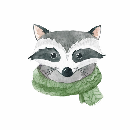 Watercolor raccoon vector portrait