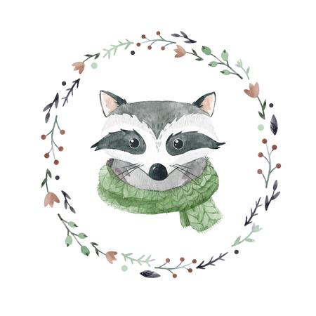 Watercolor raccoon vector portrait