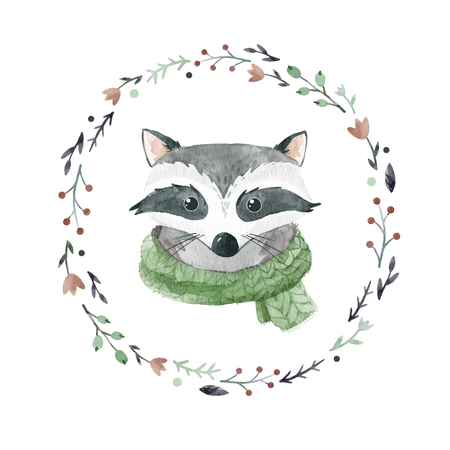 Watercolor raccoon vector portrait Imagens - 88293967