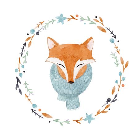 Aquarelle renard illustration vectorielle Banque d'images - 88293971