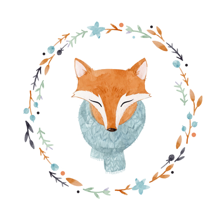 Watercolor fox vector portrait Illustration