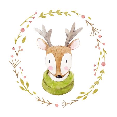 수채화 사슴 벡터 초상화 일러스트