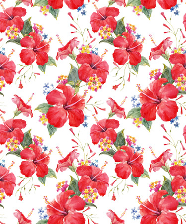 Watercolor tropical floral vector pattern Vettoriali