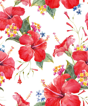 Watercolor tropical floral vector pattern Illustration