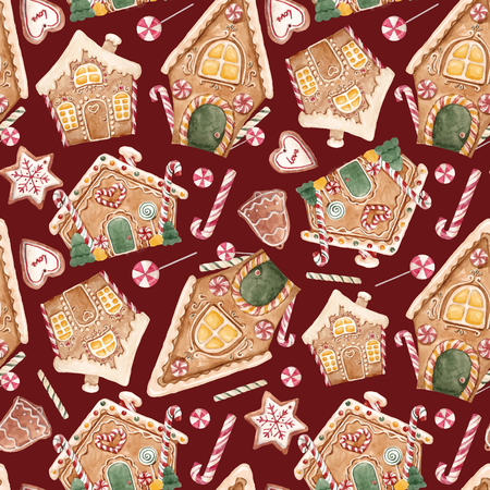 水彩クリスマス ベクトル パターン。
