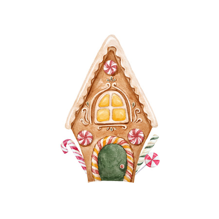 Watercolor gingerbread vector house.