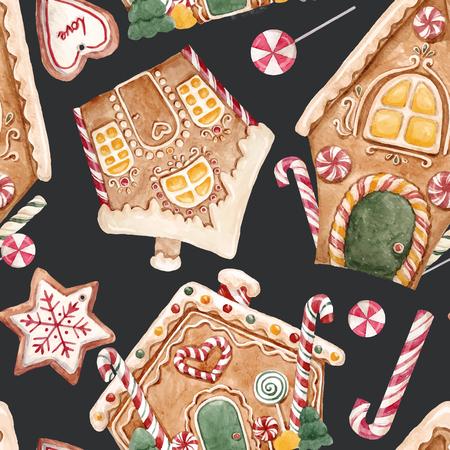Watercolor Christmas vector pattern.