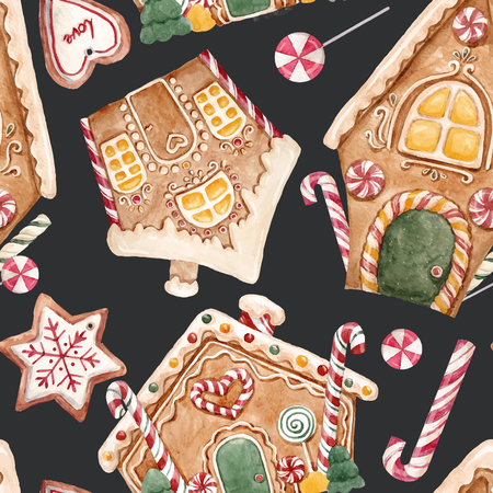 Watercolor Christmas vector pattern.