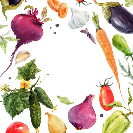Watercolor vegetable vector frame