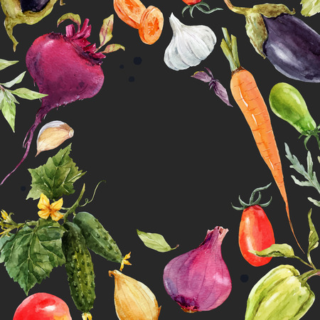 Watercolor vegetable vector frame Imagens - 88544281